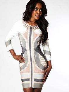 Clothing :: Dresses :: 'Laurent' Nude, Grey & White Mid Sleeve Bandage Dress - Celeb Boutique - Celebrity Style At High Street Prices| Bodycon Dresses | Bandage Dresses | Party Dresses