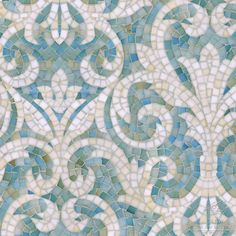 "Name: Serena Style: Classic Product Number: CB1222SERENA (19""x19"") Description: Serena jewel glass mosaic in Aquamarine and Quartz."