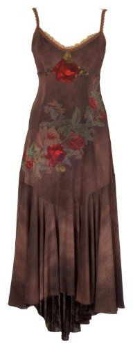 Enchanting Asymmetrical Hemline Evening Brown Dress Designed by Michal Negrin with Victorian Inspired Roses Motif, Lace trim Edge and Spaghetti Straps