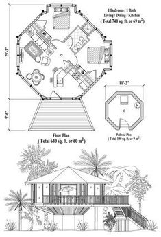 , 2 Bedrooms, 1 Baths, Pedestal Collection by Topsider Homes Round House Plans, Tiny House Plans, House Floor Plans, Craftsman Cottage, Cottage Plan, Ideas De Cabina, Cabana, Octagon House, Silo House