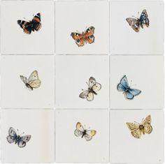 Traditioneel gedecoreerde tegels met vlinders groot in kleur. Ambachtelijk gemaakt in Friesland. Bestel direct online! -