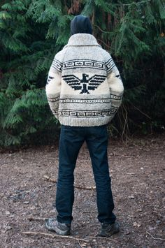Eagle Cowichan Style Sweater by SitkaKnits on Etsy Etnic Pattern, Cowichan Sweater, Soft And Gentle, Sweater Making, Winter Months, Clothing Patterns, Gray Color, Eagle, Sweater Patterns