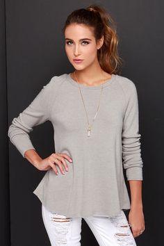 LULUS Exclusive Biz Cas Fri Light Grey Sweater Top at Lulus.com!