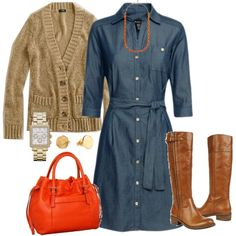 """Chambray shirt dress"" Casual chic"