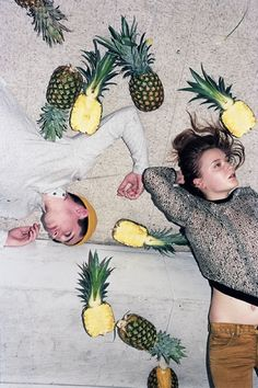 posing inspiration - birds eye view of the couple. however not with pineapples