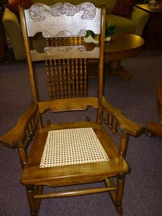 Antique Oak Rocking Chair Rocker, Quadruple Pressed Back Hand Cane Seat USA  | EBay