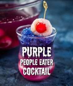 Prepare to be spooked by the Purple People Eater colour changing Halloween cockt… Prepare to be spooked by the Purple People Eater colour changing Halloween cocktail! Featuring a natural ingredient with magical colour changing properties. Alcholic Halloween Drinks, Halloween Drinks Kids, Soirée Halloween, Halloween Desserts, Halloween Food For Party, Halloween Punch Alcohol, Haloween Drinks, Halloween Shooters, Easy Halloween Cocktails