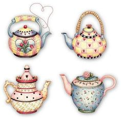✯ Four cozy tea pots Tee Kunst, Country Paintings, Mary Engelbreit, Teapots And Cups, Tea Art, Decoupage Paper, Tole Painting, Retro, Paper Dolls