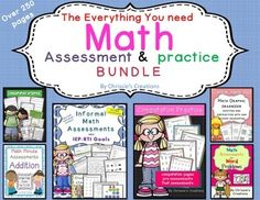 Math Assessments: The Math assessments and activities bundle.  This Math assessment product is a must see.  As a special education teacher, I could not live without this.  I use these products to progress monitor my students who are on IEP's and who are in RTI.