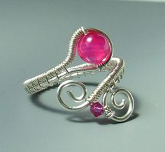 Pink agate ring stone silver plated wire by VeraNasfaJewelry