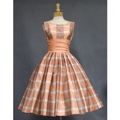 Terrific Peach Plaid 1950's Party Dress VINTAGEOUS VINTAGE CLOTHING