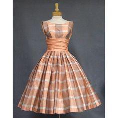 Terrific Peach Plaid 1950's Party Dress VINTAGEOUS VINTAGE CLOTHING