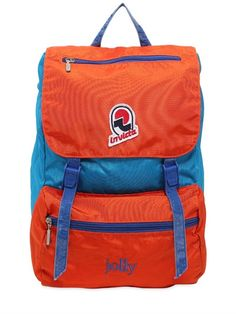 INVICTA - JOLLY BACKPACK W/ VINTAGE EFFECT - BACKPACKS - ROYA BLUE/ORANGE - LUISAVIAROMA - Height: 35cm Width: 28cm Depth 20cm . Capacity: 18 liters. Double adjustable shoulder straps. Single top handle . Front flap with adjustable buckle closures . Two front zip pockets . Embroidered patch. Internal laptop compartment . Cotton lining