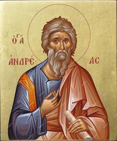 Christian icon of Saint Andrew Byzantine Icons, Byzantine Art, Paint Icon, Russian Icons, St Andrews, Albrecht Durer, Religious Gifts, Orthodox Icons, Angel Art