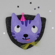 Wall decoration cat, purple, from paper mache