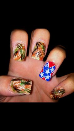 Camo nails with a rebel flag cute