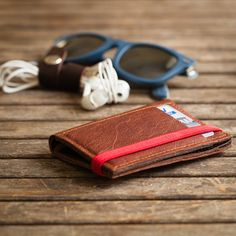 Leather Wallet minimal Wallet Leather Purse men and women by Gazur
