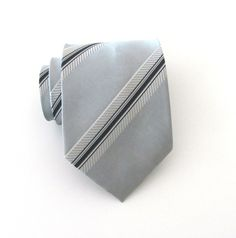 Necktie Gray Black Stripes Mens Tie by TieObsessed on Etsy, $19.95