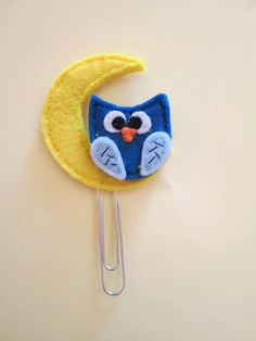Owl bookmark - Planner accessories - Felt bookmark - Clip con Gufo Blu e Luna  Segnalibro in feltro  di TinyFeltHeart