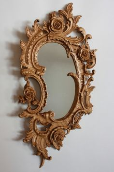 Over the top gold framed mirror. Wood Carving Art, Wood Art, Rococo Furniture, Furniture Design, Wall Clock Online, Rose Decor, Wood Clocks, Wood Mirror, Ornaments Design