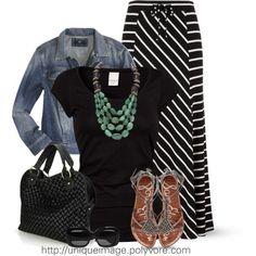 So cute for fall - Striped Maxi Skirt w/ Jean Jacket