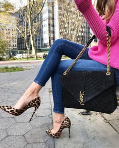 YSL bag, hot pink knit sweater and leopard heels