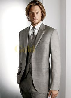 Slim Silver Grey Single Breasted Button Worsted Groom Wedding Tuxedo