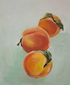 Original Food Painting by Lara Felsing Pastel Artwork, Oil Pastel Paintings, Oil Pastel Art, Paintings Of Fruit, Pastel Drawing, Peach Paint, Summer Painting, Fruit Painting, Mini Canvas Art