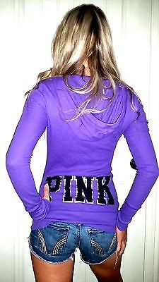 Pink by Victoria's Secret purple button down hoodie henley top euc XS