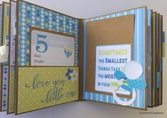CorenesCreations: Baby Boy's First Year Album~Nitwit Collections! Baby Girl Scrapbook, Baby Scrapbook Pages, Baby Mini Album, Baby Journal, Junk Journal, Album Scrapbook, Mini Albums Scrap, Mini Books, Baby Cards