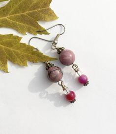 Pink and Black Gemstone Earrings, Rhodonite Earrings,  https://www.etsy.com/listing/559639232/pink-and-black-gemstone-earrings?utm_campaign=crowdfire&utm_content=crowdfire&utm_medium=social&utm_source=pinterest