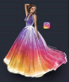 Instagram dress,rainbow dress, instagram , beautiful draw