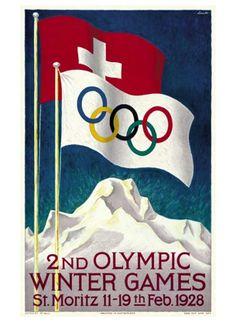 Moritz 1928 (Winter Olympics) Poster design by Hugo Laubi Olympic Logo, Olympic Sports, Winter Olympic Games, Winter Games, Saint Moritz, Ski Lodge Decor, Vintage Ski Posters, Vintage Winter, Art Graphique