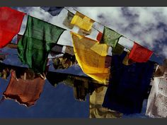 Ces drapeaux à prières volent dans le vent sur les hauteurs de Leh, dans le Ladakh, en Inde.