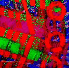 Flux Line Abstract 24914 ~ John Nolan    abstract painting of green, red, blue