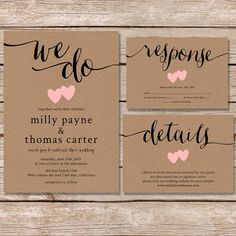 Rustic Wedding Invitation / kraft paper wedding invite set / modern vintage wedding invitation / printable digital file