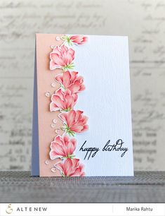 Beautiful birthday card with Peonies (from Altenew Peony Bouquet stamp set) with copics and coloured pencils with a Video!