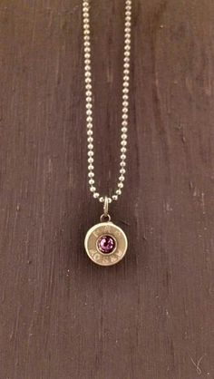 "40 cal pendant with 4mm inset Swarovski crystal and 16"" brass chain. Made to order. www.facebook.com/devonleahcreations"