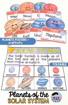 Planets foldable with posters, worksheets and craftivities. K-3