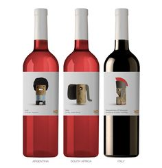"""Delhaize - """"...The use of cork gives it the air of something simple, typical of an everyday product. The cap is the element that unifies and personalizes the whole range. The motif designed for each label refers to the country of origin."""""""