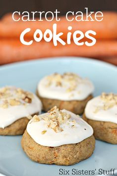 Carrot Cake Cookies from SixSistersStuff.com. Soft, chewy, and topped with cream cheese frosting!