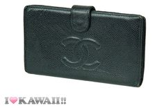 Authentic CHANEL Black Caviar Skin Bi-fold Snap Long Coin Purse Wallet  #CHANEL #Wallet
