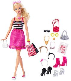 When Barbie doll needs to shake up her look, she heads to the mall with her eye on accessories. With two shopping bags and glam accessories to fill them, she is ready to create tons of new looks. From necklaces, bracelets and earrings to headbands, sunglasses, shoes and purses, girls can help Barbie doll mix and match looks for any occasion. Colors and styles are signature Barbie. Includes doll, two shopping bags and multiple accessories. Doll cannot stand alone. Colors and decorations may…