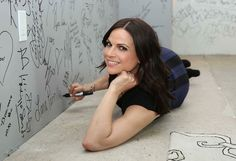 Awesome Lana adding her awesome signature on the autograph wall #AOLBuild #NYC Wednesday 5-11-16