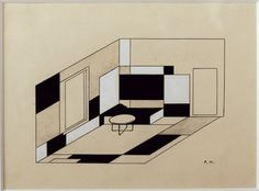 An interior design for the study of Ida Bienert in Dresden, by Piet Mondrian,