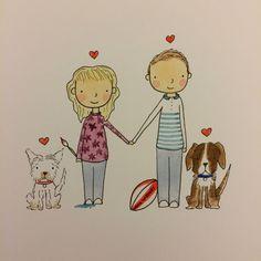 Custom portrait - Wedding/ Engagement - Personalised hand drawn and painted illustration