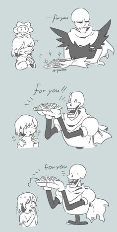 "frisk and papyrus. Papyrus offers Frisk spaghetti. Underfell, Undertale, Horrortale. Don't eat Horror's spaghetti . . .  It has the ""human touch"""