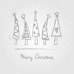 """Stock vecteur de «Illustration des arbres de Noël avec de la neige, le style de griffonnage"""""""