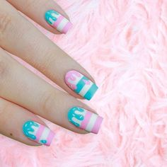 Dreamy cotton candy sprinkle nails #nailart