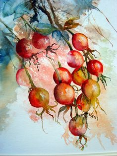 In response to the title 'Leaves and Berries' I opted for the remains of some ro… - Garden Drawing Watercolor Fruit, Watercolor And Ink, Watercolour Painting, Watercolor Flowers, Painting & Drawing, Watercolor Christmas Cards, Garden Drawing, Watercolour Tutorials, Fruit Art